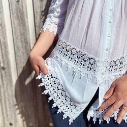 Zoom sur les détails en dentelle de la chemise Pépite 😍  Vous aimez ?   #lacotonniere#details#dentelle#lace#vetementcoton#cottonclothing#whiteshirt#chemise#cottonfashion#love#cottonaddict#cottonlover#vetement#mode#style#cotton#coton
